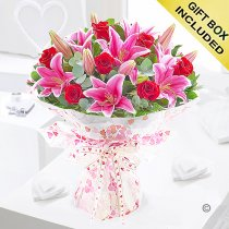 Large red rose and lily hand-tied Code: JGF2007LRL | Local Delivery Or Collect From Shop Only