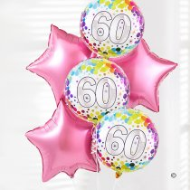 60th happy birthday balloon bouquet pink stars Code: JGF0360PSHB | Local Delivery Or Collect From Shop Only