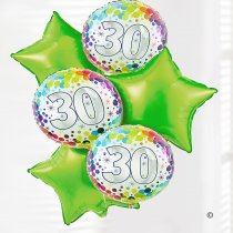 30th happy birthday balloon bouquet lime green and dots Code: JGF0230LGDBB | Local Delivery Or Collect From Shop Only