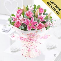 Pink rose and lily hand-tied Code: JGF20015PRL | Local delivery or collect from shop only