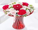 Red love vase with a fun helium I love balloon Code: JGF400RLB  | Local Delivery Or Collect From Shop Only