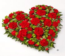 Classic Carnation and Spray Carnation Heart Code: JGFF1230REH | Local Delivery Or Collect From Shop Only