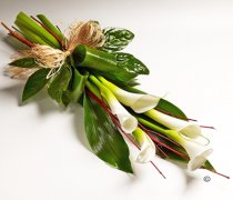 White Calla Lily Sheaf Raffia Code: JGFF415CLS | Local Delivery Or Collect From Shop Only