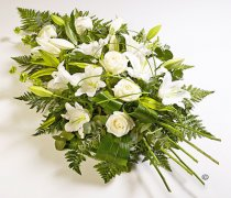 White Rose and White Oriental Lily Spray Code: JGFF450FS  | Local Delivery Or Collect From Shop Only