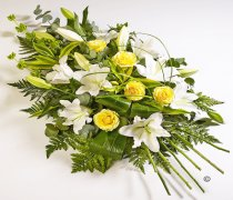 Yellow Rose and White Oriental Lily Spray Code: JGFF440FS  | Local Delivery Or Collect From Shop Only