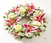 Pink and White Rose & Lily Wreath Code JGFF150PWW | Local Delivery Or Collect From Shop Only