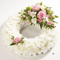 Traditional Pink and White Bassed Wreath Code: JGFF190PWW | Local Delivery Or Collect From Shop Only