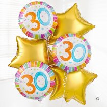30th birthday balloon bouquet gold Code: JGF02830GBB | Local Delivery Or Collect From Shop Only