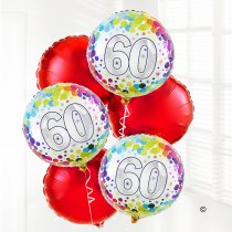 60th red birthday balloon bouquet Code: JGF020860HB | Local Delivery Or Collect From Shop Only